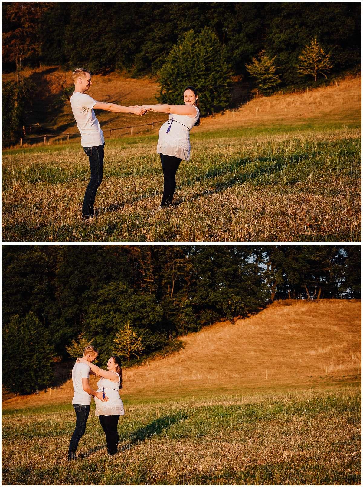 Babybauchshooting in Hattingen bei Sonnenuntergang